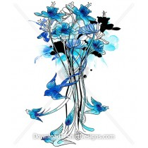 Bluebird Watercolor Floral Stems