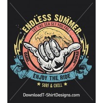 Endless Summer Surf Wave Shaka Hand Gesture
