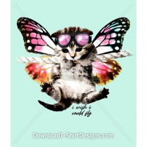 Cute Kitten Cat Butterfly Wings