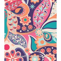 Large Retro Colorful Paisley Seamless Pattern