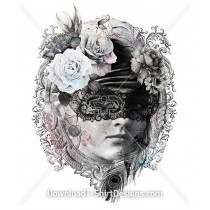 Beautiful Vintage Masquerade Female Portrait Frame Flowers