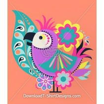 Cute Tropical Bird of Paradise Paisley Flowers