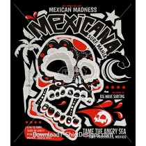 Mexican Madness Skull Wave Surf Theme Poster
