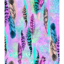 Colorful Falling Feathers Leaves Seamless Pattern