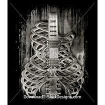 Grunge Skeleton Bones Ribs Music Guitar