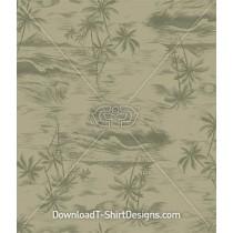 Vintage Hawaiian Island Palm Tree Sketch Seamless Pattern