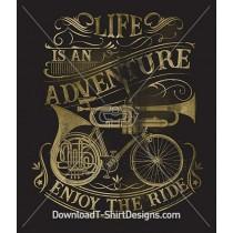Vintage Music Instrument Bike Poster Quote
