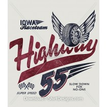 Retro Highway 55 Car Racing Print
