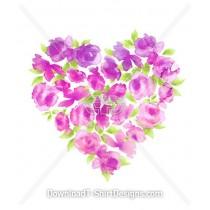 Elegant Watecolor Rose Flower Heart