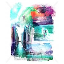 Bright Summer Tropical Surf Waves Beach Collage