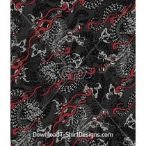 Dragon Flames Seamless Pattern