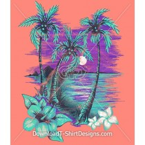 Bright Tropical Island Summer Palm Trees Flowers