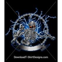 Metal Mechanic Skeleton Skull Ligtening Bolts