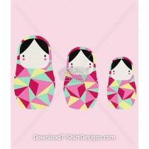 Cute Geometric Pattern Babushka Dolls