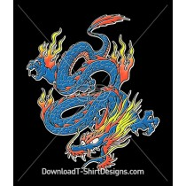 Bright Neon Swirling Flame Dragon