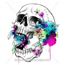 Colorful Tropical Floral Skull Illustration