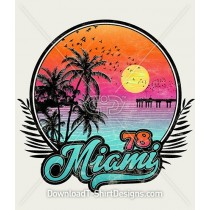 Retro Miami 78 Tropical Sunset Beach
