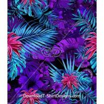 Colorful Tropical Foliage Snake Seamless Pattern