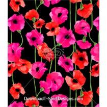 Painted Poppy Flower Stem Seamless Pattern