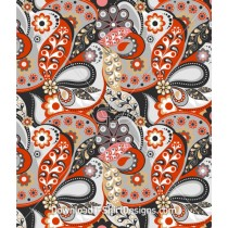 Retro Paisley Flowers Tear Drop Seamless Pattern