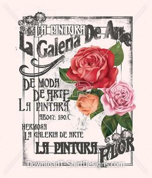 Vintage Decorative Rose French Poster