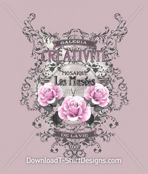 Vintage Decorative Rose Floral Emblem