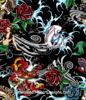 Pirate Skull Mermaid Rose Dragon Tattoo Seamless Pattern