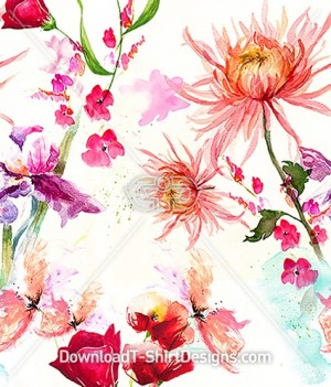 Delicate Faded Floral Watercolor Seamless Pattern