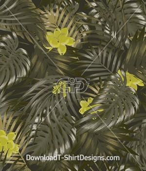 Olive Khaki Tropical Palm Leaf Seamless Pattern