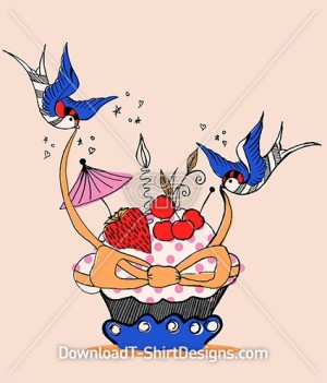Cute Retro Cupcake BlueBird Cherry Ribbon