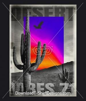 Neon Gradient Desert Cactus Eagle