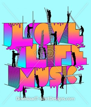 Gradient Love Life Music Typography Slogan Quote