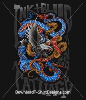 Japanese Oriental Tattoo Eagle Dragon Snake