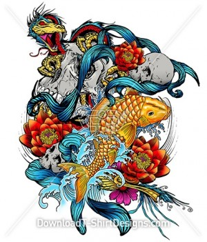 Oriental Koi Fish Lotus Skull Dragon Tattoo