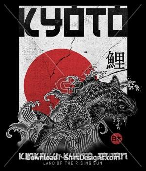 Japanese Oriental Kyoto Koi Fish Poster