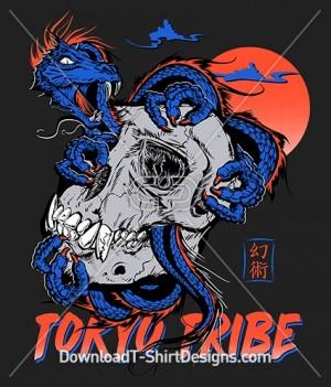 Japanese Oriental Tokyo Tribe Dragon Skull