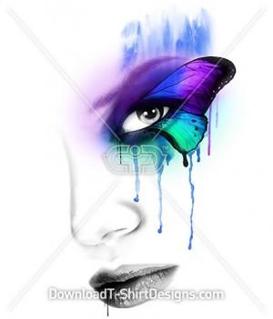 Beautiful Abstract Watercolor Butterfly Eye Female Portrait