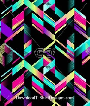 Abstract Geometric Gradient Chevron Seamless Pattern