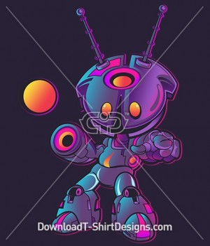 Cute Futuristic Gradient Robot Character