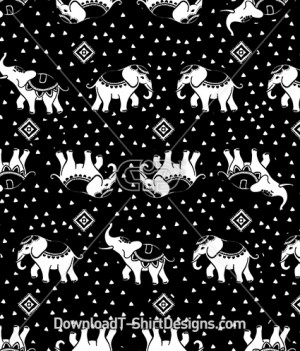 Ethnic Tribal Elephant Seamless Pattern