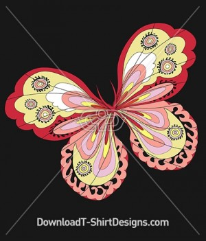 Abstract Retro Pattern Filled Butterfly