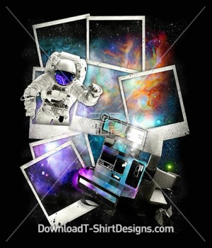 Polaroid Space Galaxy Astronaut