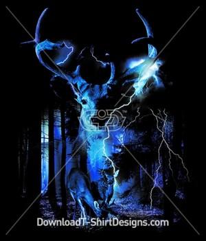 Deer Stag Dark Forest Lightening Storm