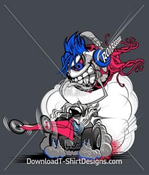 Eyeball Monster Drag Race Car Character