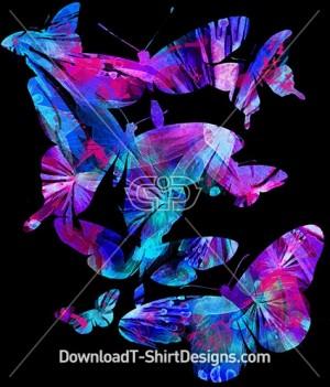 Bright Abstract Pattern Fill Butterflies