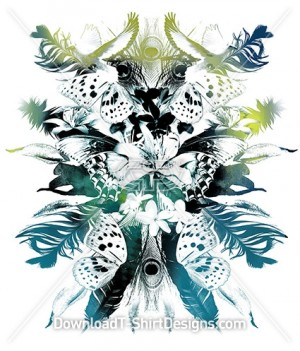 Abstract Mirrored Butterfly Feathers