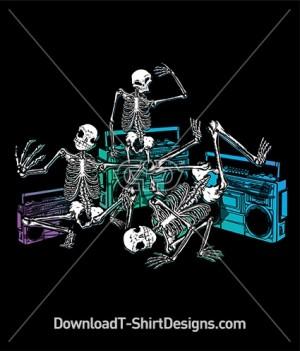 Boom Box Break Dancing Skeletons