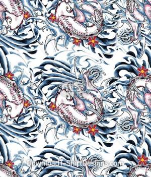 Japanese Koi Fish Tattoo Seamless Pattern