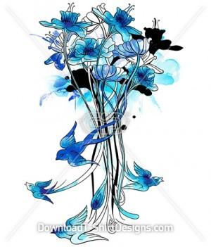 Bluebird Watercolor Floral Stems