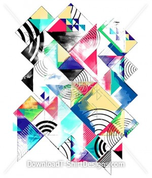 Abstract Hand Painted Geometic Pattern Print